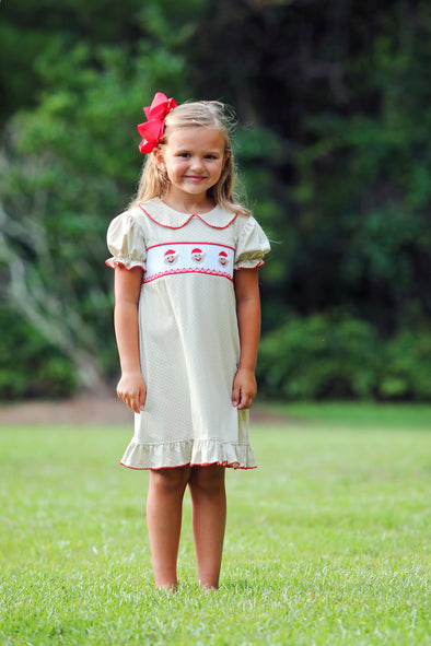 Jolly Gingerbread Smocked Dress