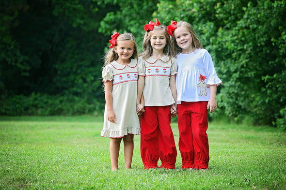 Jolly Gingerbread Smocked Girls Set