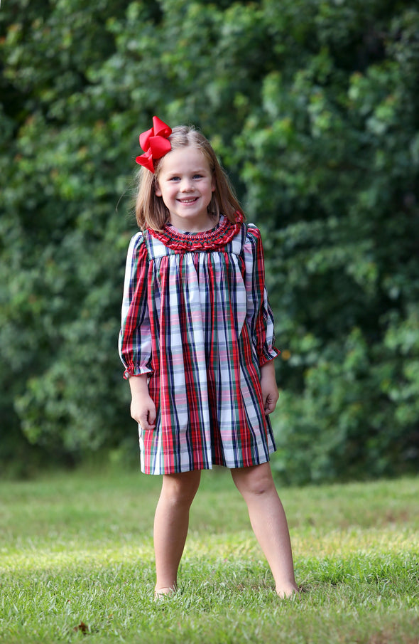 Christmas Plaid Ruffle Neck Geo Dress