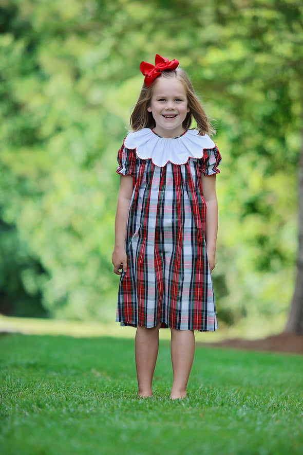Christmas Plaid Ruffle Collar Picot Dress