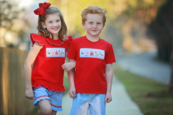 Farm Friends Girls Red Tee Set