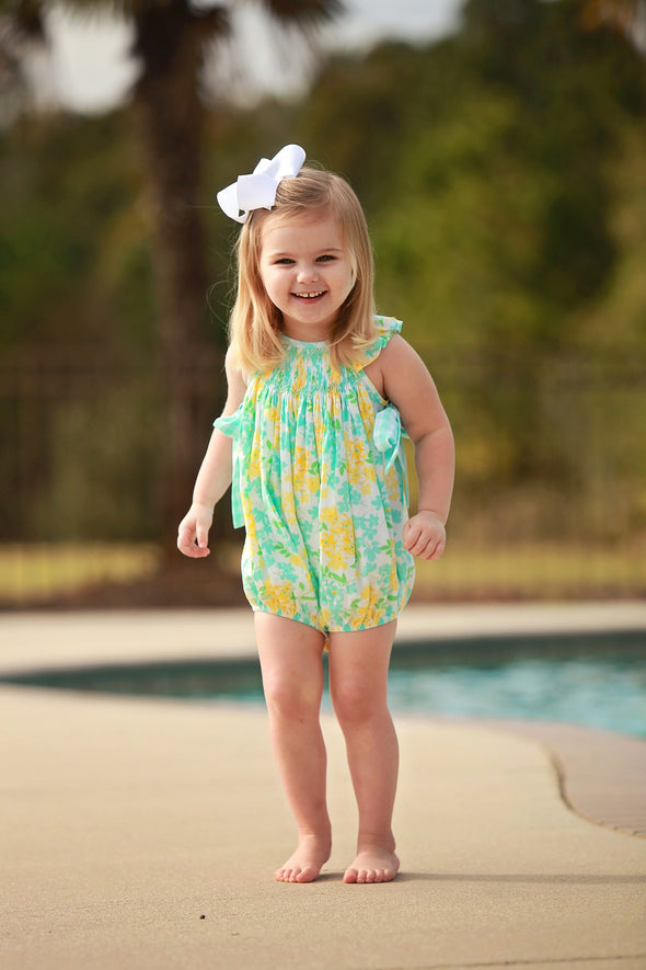 Yellow & Aqua Floral Geo Girls Bubble