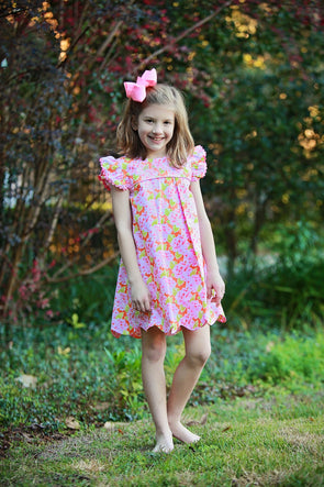 Orange & Pink Floral Pleated Bow Dress