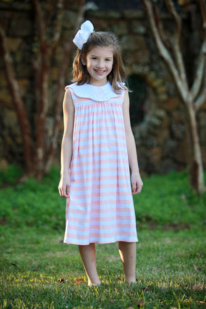 Peach Stripe Knit Scallop Dot Collar Dress