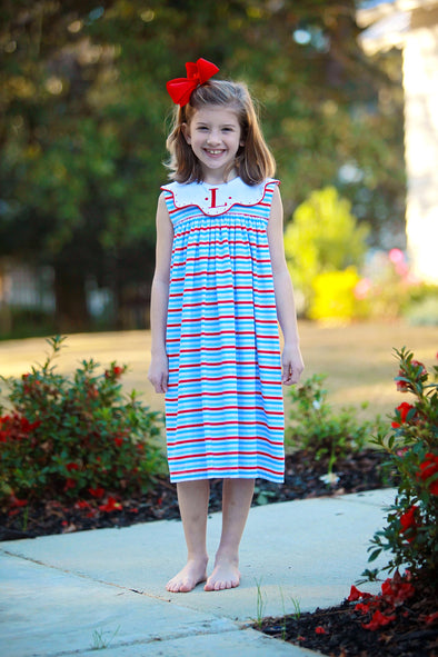Red & Blue Knit Stripe Scallop Collar Dot Dress