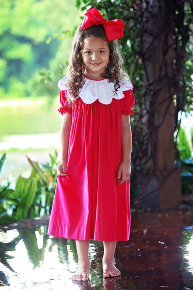Pink Cord Ruffle Picot Collar Dress