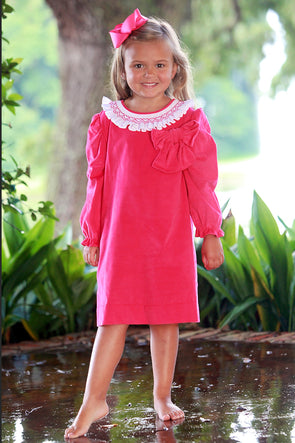 Pink Ruffle Geo Bow Dress