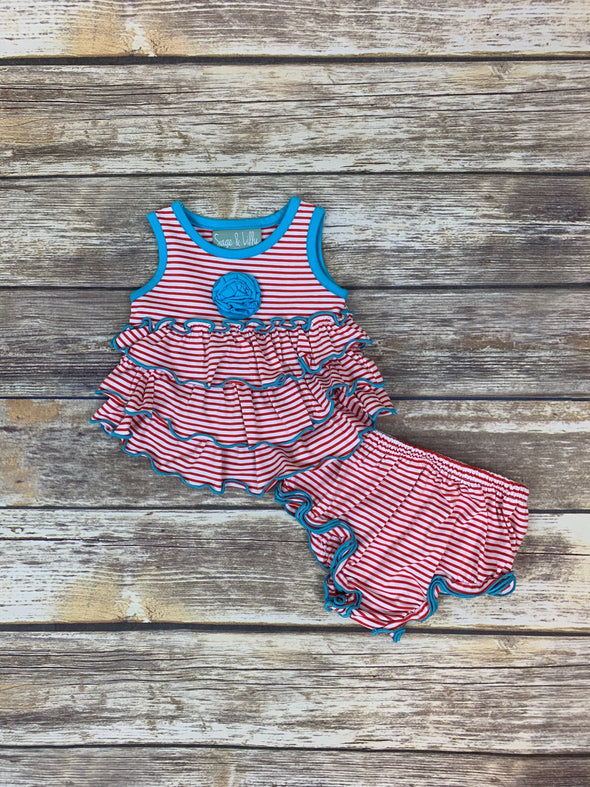 Frannie Ruffle Red Stripe with Blue Bloomer Set
