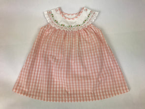 Peach Gingham Collar Dress with Rose Embroidery