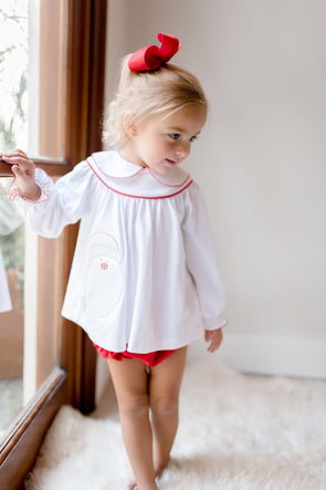 Santa Applique Girl Bloomer Set