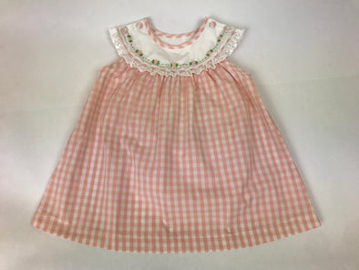 7219c11edf02 Peach Gingham Collar Dress with Rose Embroidery