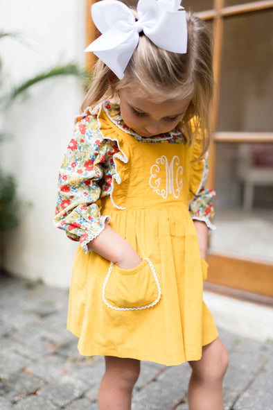 Mustard Cord Pocket Dress and Shirt