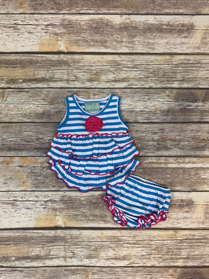 Frannie Ruffle Blue Stripe Bloomer Set