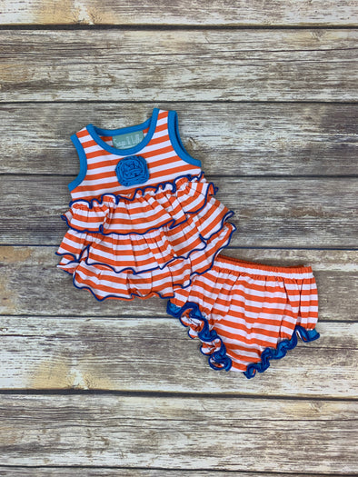 Frannie Ruffle Orange Stripe Bloomer Set