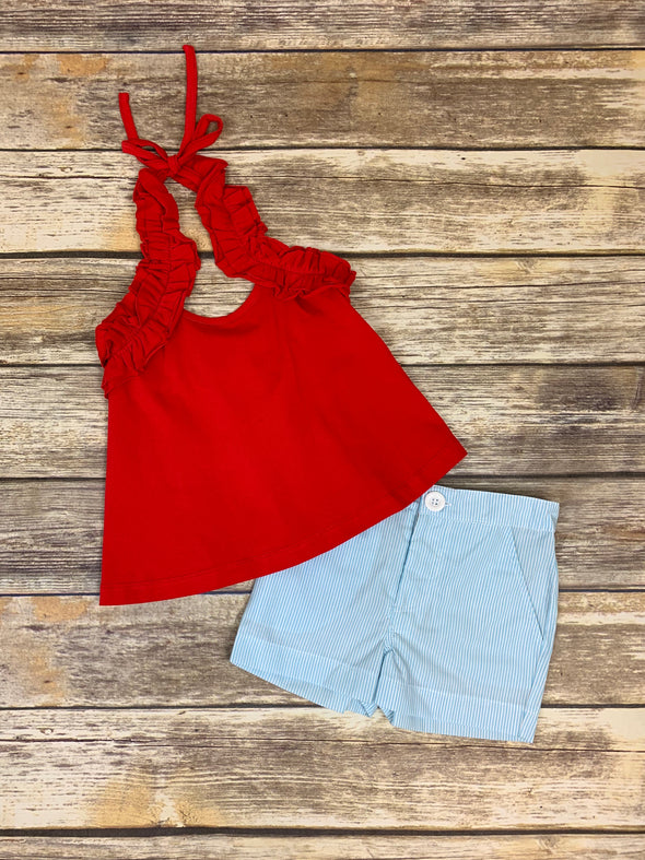 Red Ruffle Halter Set with Blue Stripe Shorts