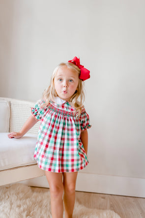 Christmas Check Geo Top and Bloomer Set