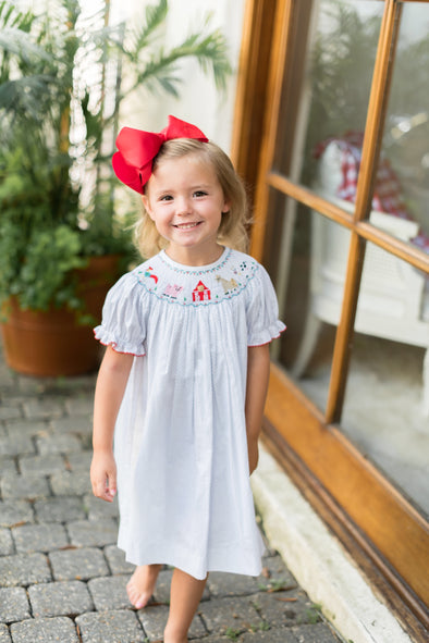 Barnyard Friends Smocked Bishop Dress