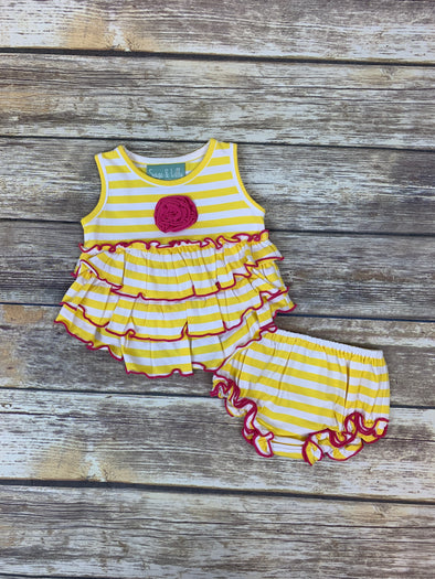 Frannie Ruffle Yellow Stripe Bloomer Set