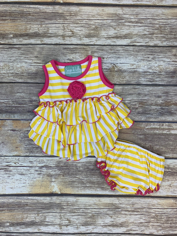 Frannie Ruffle Yellow And White Stripe Bloomer Set