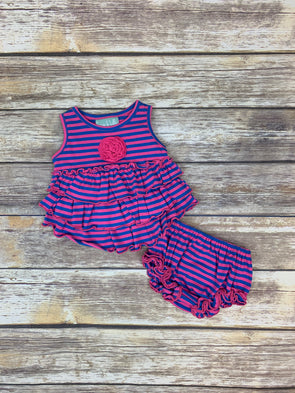 Frannie Ruffle Pink and Blue Stripe Bloomer Set