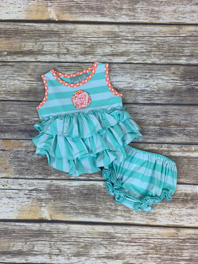 Frannie Ruffle Bloomer Set with Orange Dot