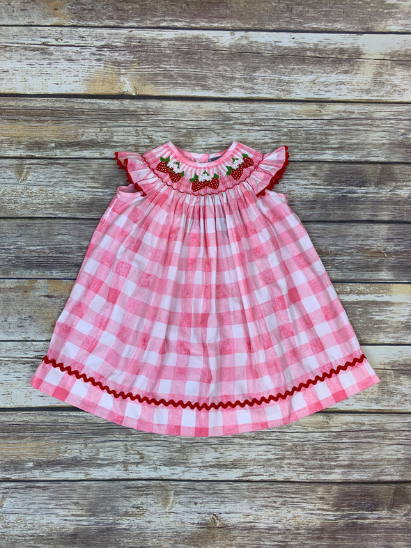 Sweet Strawberry Smocked Bishop