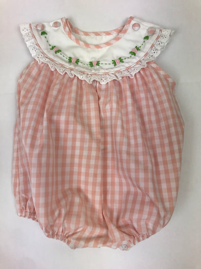 Peach Gingham Collar Girls Bubble with Rose Embroidery