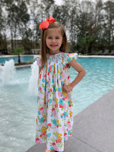 Summer Floral Geo Smocked Bishop