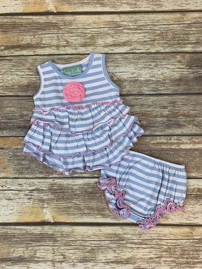Frannie Ruffle Purple Stripe Bloomer Set