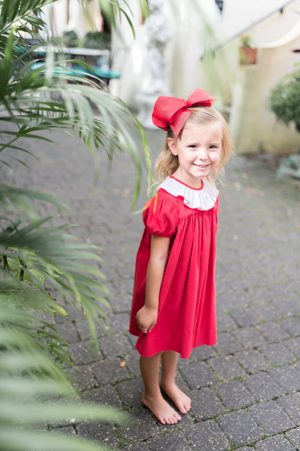 Sydney Red Cord Ruffle Collar Dress