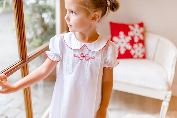 White Dress with Red Ribbon Embroidery