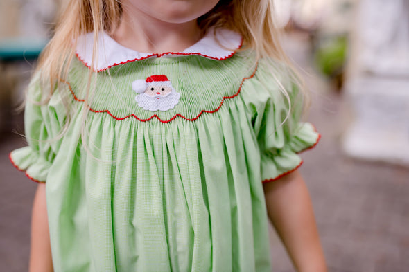Santa Smocked Girl Bubble