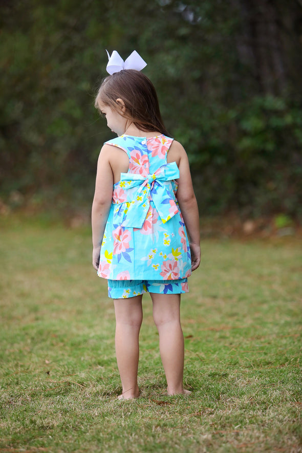 Tropical Floral Bow Back Set