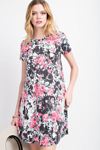 SHORT SLEEVE FLORAL DRESS - 12B5381