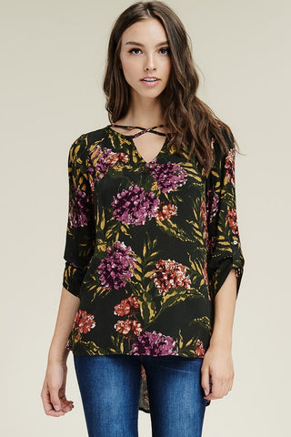 LILITH - Black Floral Top