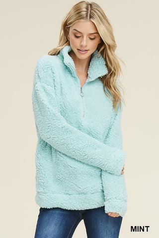 TESS - MINT FLEECE PULLOVER