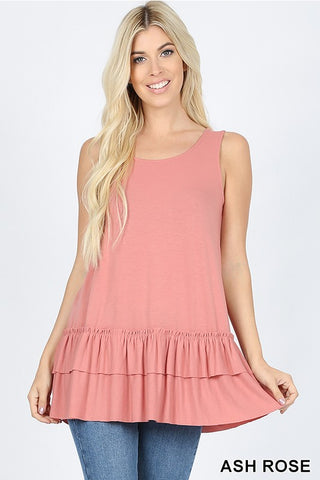ALMA - RUFFLE SLEEVELESS TUNIC TANK