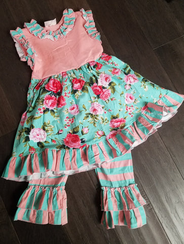 FLORAL & STRIPES 2PC SET - HD200604