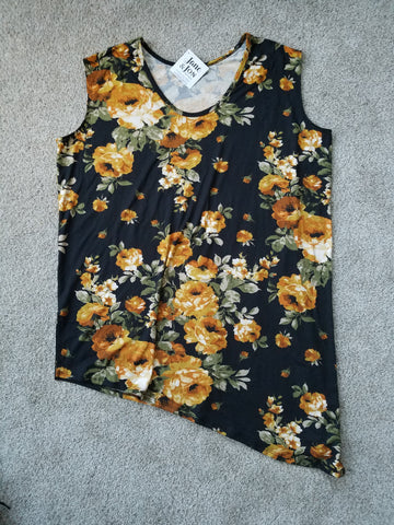 Black & Mustard Floral Sleeveless Top - THT1062