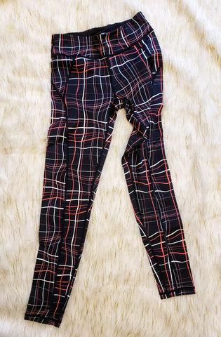 AJA- CORAL PLAID WORKOUT LEGGINGS