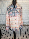 OPAL - LT BLUE DISTRESSED FLANNEL