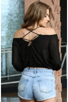 LIZ - BLACK CHIFFON CROP TOP