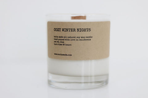 Baitx Made - Cozy Winter Nights Wood Wick Candle, 11 oz