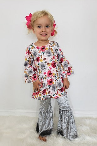 CC103 - GIRLS SILVER FLORAL SET