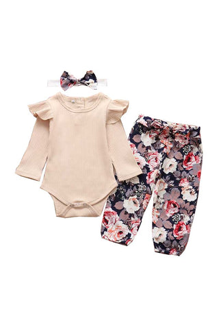 DEW101 - BABY FLORAL 3PC BODYSUIT