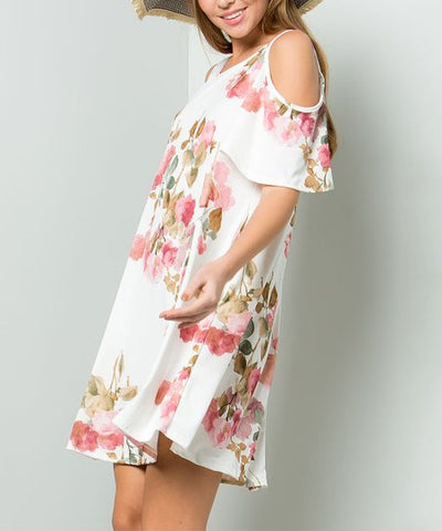WATERCOLOR ROSE PRINT DRESS - EEDJ51373