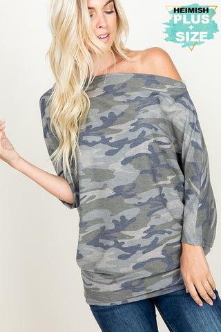 HEM129 - CURVY CAMO OFF SHOULDER TOP