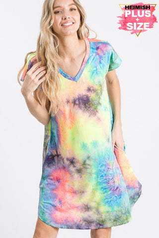 HEM161 - CURVY TIEDYE DRESS