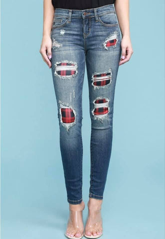 JB110 - BUFFALO PLAID SKINNY JEANS