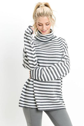 CALLIE - GREY/IVY STRIPE TURTLE NECK SWEATER